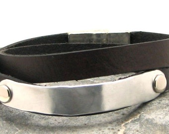 EXPRESS SHIPPING Men's leather bracelet. Black flat leather wrap men's bracelet with hammered metal work and silver plated magnetic clasp.