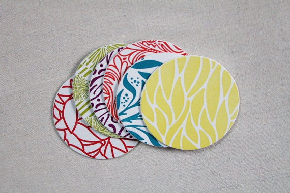 Colorful Letterpress Coasters, set of 6