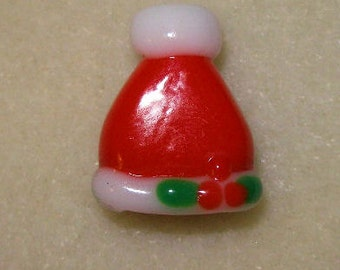 Lampwork Santa Hat Bead -15x20mm  - package of 6 beads