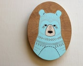 Original Painting Bear Illustration Art - Oil on Wood - Little Bear Luka 6x8