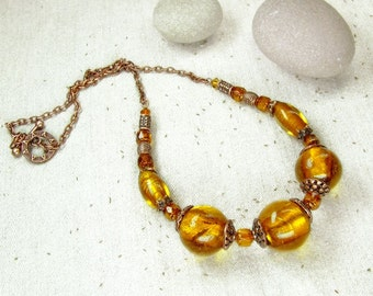 Copper Yellow Orange Necklace
