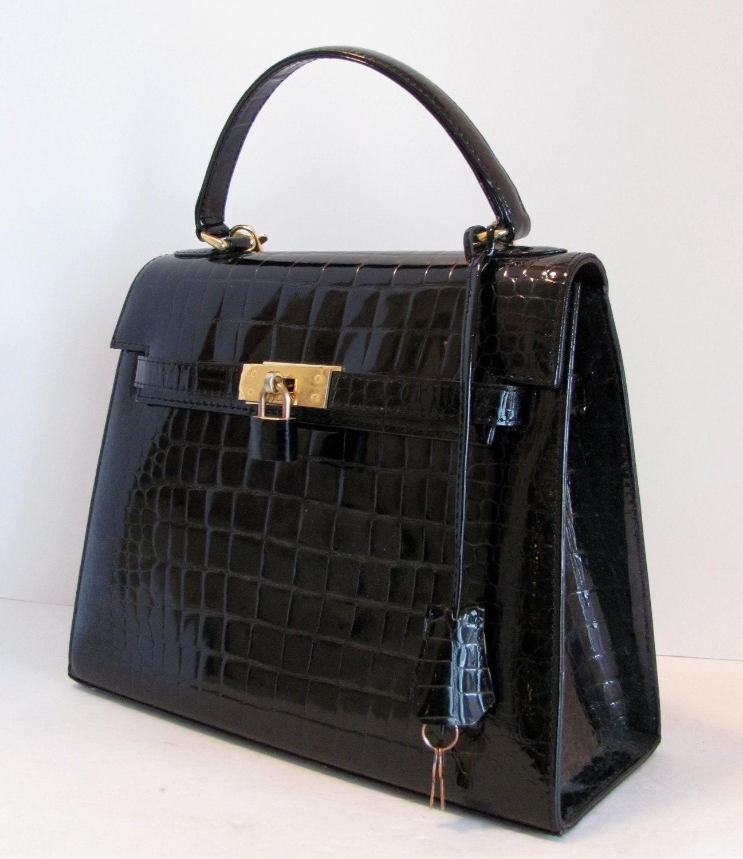 Mint Vintage Hermes Grace Kelly Bag Style Crocodile Patent