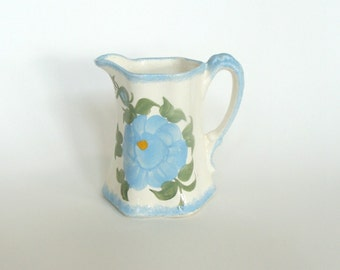 Cash Family Pottery Blue Flowers Pitcher, Ceramic Pottery Buttermilk Pitcher, Collectible Kitchenware