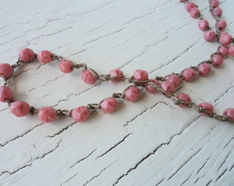 Coral Pink Necklace Beaded Crochet Necklace Light Pink Boho chic Boho glam Bohemian Jewelry Beach chic Beach glam