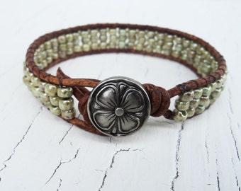 Green Beaded Bracelet, Leather Wrap Bracelet, Friendship Bracelet, Boho Jewelry, Bohemian Bracelet, Four Leaf Clover Jewelry, Lucky bracelet