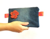 Denim Clutch from upcycled denim, cosmetic pouch, make up bag, handbag.