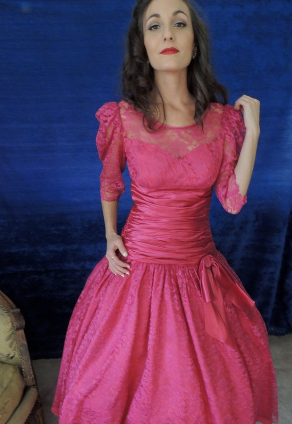 Rasberry Prom Dress Vintage 1980s Pink Prom By