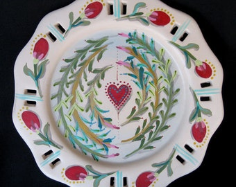 TWINING LEAVES PLATES, a handpainted Bisque Plate Set