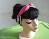Rockabilly Zebra/Solid Pink Pin up style Headband / Hair Scarf/ Hair Tie/ Neck Scarf.