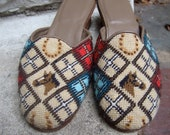 Wonderful Needlepoint Slippers with Equine Design Made in Italy - worldmarketproductio