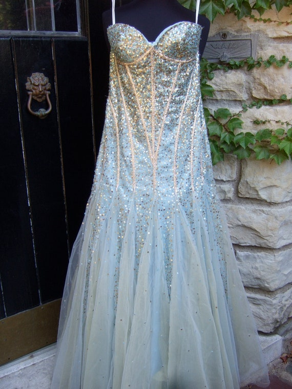 Vintage 1980s Strapless Sequined Iridescent Tulle Gown US Size 4