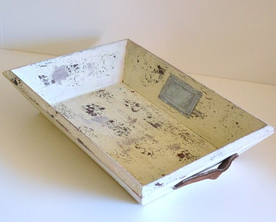 Vintage Shabby Chic Wooden Tray W Leather Handles Decor