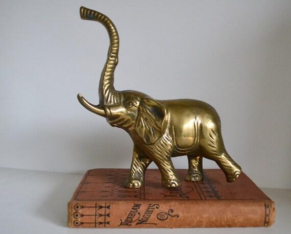 Vintage Brass Elephant Home Decor Lucky Medium By VintageAndSupply