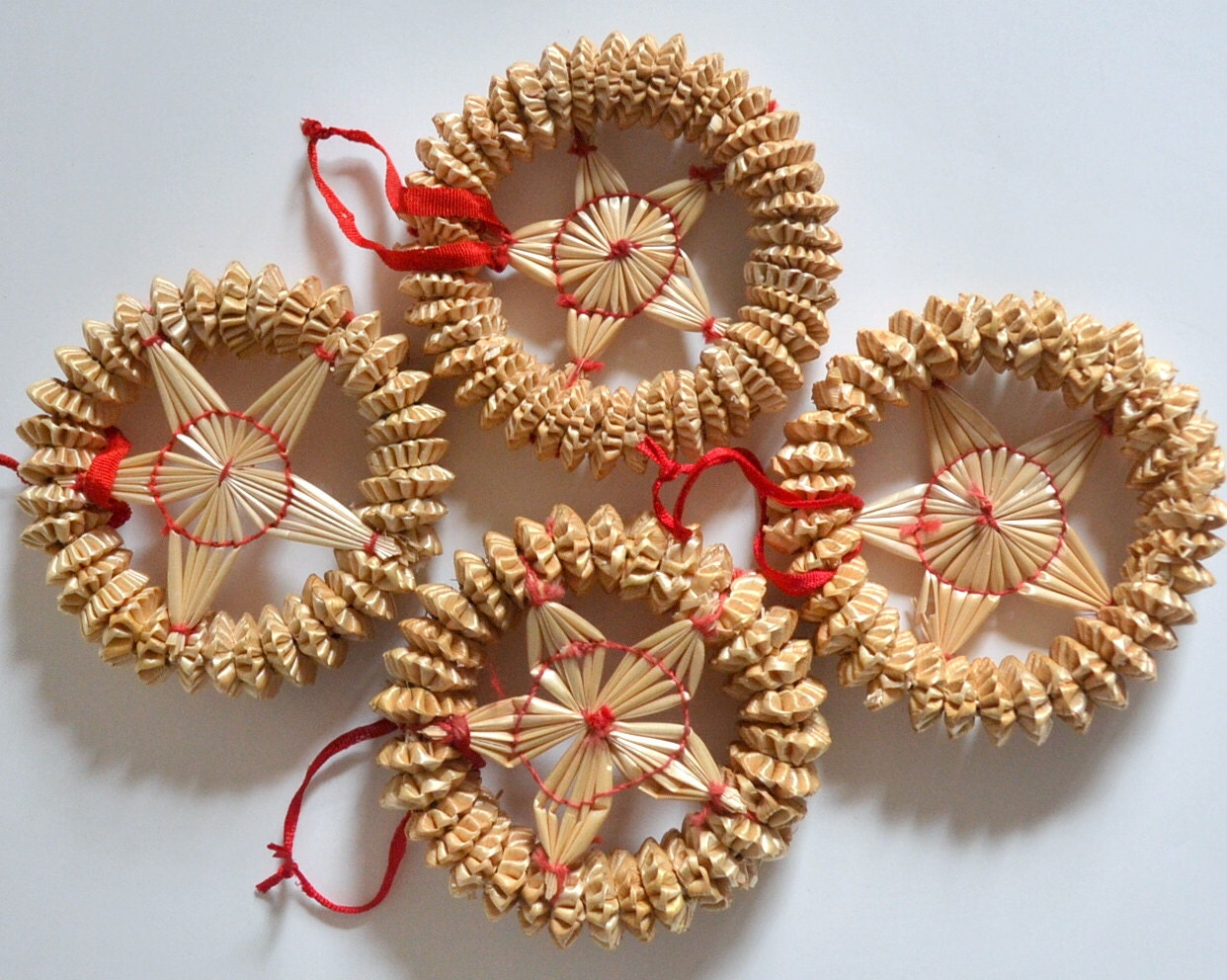 Vintage Star Christmas Straw Ornaments Set Of 4 Winter