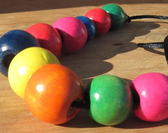 Large Wood Beads Necklace, Chunky Wooden Necklace, multicolored wooden beads necklace, wooden bead necklace, nursing necklace, Wood Jewelry