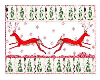 reindeer and Christmas trees, Christmas print, Christmas mixed media, reindeer mixed media