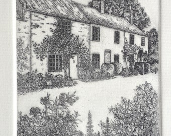 Limited edition etching 'English Cottages'