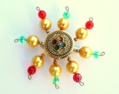 Free shipping brooch,handmade from a vintage button,plastic pearls and glass