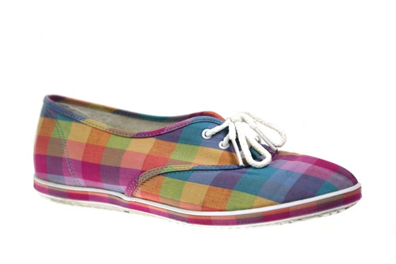Size 9 Vintage 1970s Madras Plaid Grasshoppers Sneakers