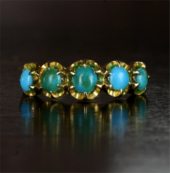Victorian 18k Gold 5 Stone Turquoise Engagement Ring