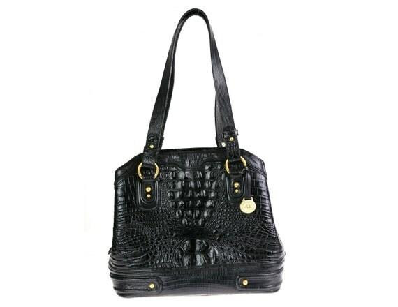 1980s Vintage Brahmin Crocodile Leather Hanbdag / Black