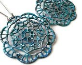 Blue Patina Distressed Metal Medallion Earrings