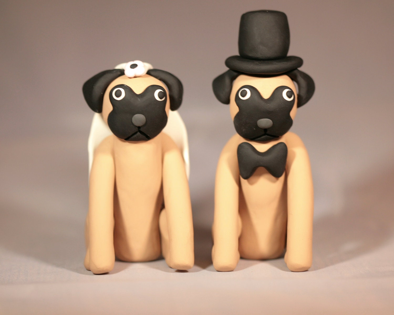 Pug Dog Wedding Cake Topper by cockTHEshutter on Etsy