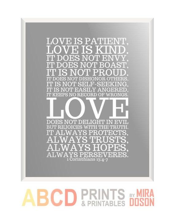 Love Is Patient Love Is Kind Quote: Bible Verse Bible Quote Print Love Is Patient... 8x10 CUSTOM