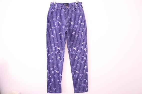90s VERSACE Printed Floral Skinny Jeans