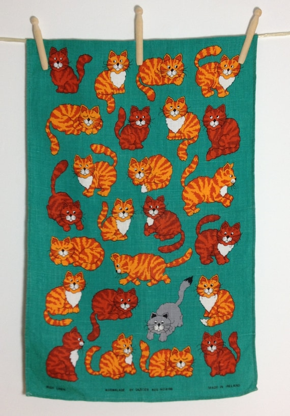 Tea Towel Vintage Linen 'Marmalade' Made By Ulster. Cats, Kittens