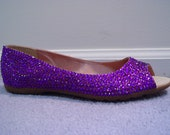 Hand Made Purple Rhinestone Peep Flats Shoes