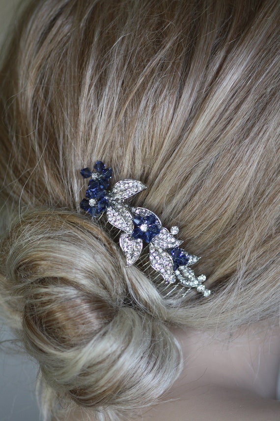 Blue Blooms Swarovski Crystal Bridal Hair comb (something blue)