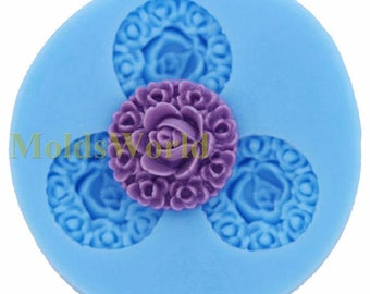 A074 Rose Flower Cabochon 3 Cavity Flexible Silicone Mold Mould for Crafts, Jewelry, Scrapbooking,  (resin, Utee, pmc, polymer clay)