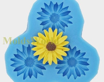 A097 Flower Daisy Cabochon 3 Cavity Flexible Silicone Mold Mould for Crafts, Jewelry, Scrapbooking,  (resin, Utee, pmc, polymer clay)