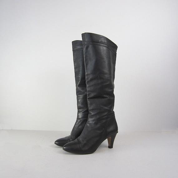 vintage boots etienne aigner leather black knee high