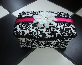 Boutique Diaper Wipes Tub Damask Black White Fuschia Hot Pink Girls