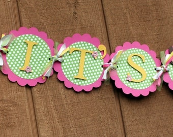 Deluxe Girl Jungle Safari Animal It's a Girl Banner Pink and Lime Green