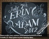 Happy Anniversary Sign - Wedding Sign - Wedding Chalkboard Sign Art