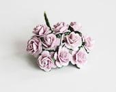 10 pcs - Lilac paper rose / 1.5 cm roses / mulberry paper roses