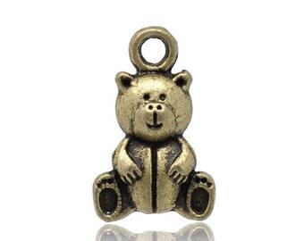 5 pcs Antique Bronze Teddy Bear Charm Pendants