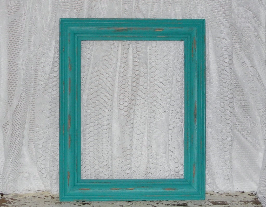 Turquoise Teal Picture Frame Distressed Shabby Chic Home Decor