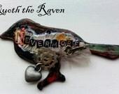 Raven Nevermore Wood Mixed Media Message Pendant - Edgar Allen Poe