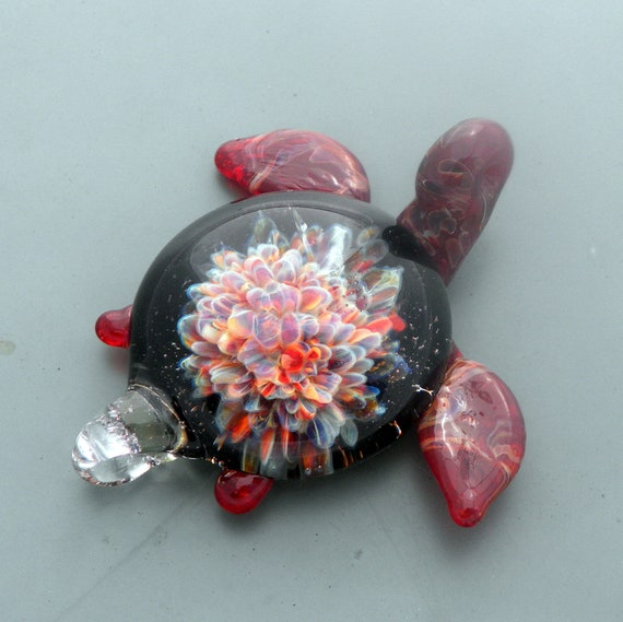 Glass Sea Turtle Life Pendant Focal Boro Lampwork hand blown SRA  Implosion Reds