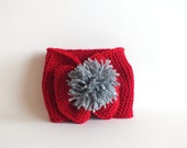 Hand knitted Headband for toddler girls in red with a grey pom pom - Zembil