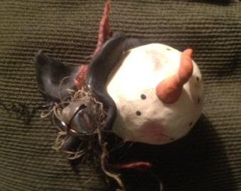 Hand sculpted clay primitive snowman  ornie