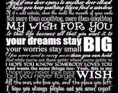 Rascal Flatts My Wish Typography Song Lyric Art Print 11 by 14