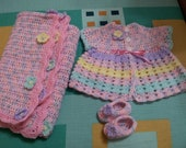 Baby girl set-handmade in crochet with soft baby yarn. FREE POSTAGE EVERYWHERE
