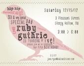 Customized Printable Kid's Birthday Invitation - Hip Hip Hooray Bird v2