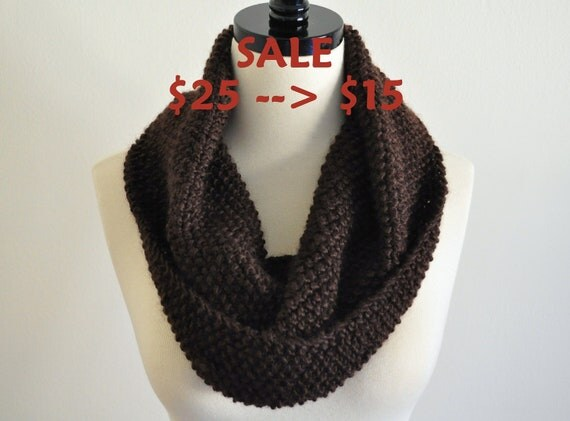 SALE - Knitted Infinity Cowl Scarf in Chocolate color