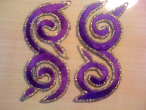 Two Purple Spiral Appliques A-1